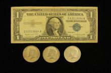 SERIES 1957 ONE DOLLAR SILVER CERTIFICATE AND (3) 40% KENNEDY HALF DOLLARS