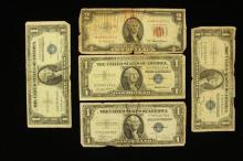 3 SERIES 1935 ONE DOLLAR SILVER CERTIFICATES, SERIES 1957 ONE DOLLAR SILVER CERTIFICATE, AND SERIES 1953 TWO DOLLAR RED SEAL NOTE