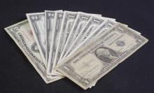 LOT CURRENCY INCLUDING SERIES 1953 FIVE DOLLAR RED SEAL NOTE, 3 SERIES 1935 ONE DOLLAR SILVER CERTIFICATES, 2 SERIES 1957 ONE DOLLAR...