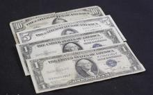 LOT CURRENCY INCLUDING SERIES 1934 TEN DOLLAR FEDERAL RESERVE NOTE, SERIES 1934 FIVE DOLLAR SILVER CERTIFICATE, AND 2 SERIES 1935 ON...