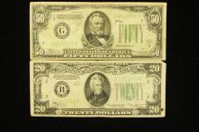 SERIES 1934 FIFTY DOLLAR FEDERAL RESERVE NOTE AND SERIES 1934 TWENTY DOLLAR FEDERAL RESERVE NOTE