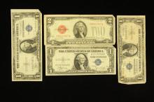 SERIES 1928 TWO DOLLAR RED SEAL NOTE AND 3 SERIES 1935 ONE DOLLAR SILVER CERTIFICATES