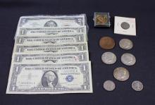MIXED LOT INCLUDING SERIES 1963 TWO DOLLAR RED SEAL NOTE, SERIES 1935 AND 4 SERIES 1957 ONE DOLLAR SILVER CERTIFICATES, (4) 40% KENN...