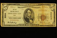 SERIES 1929 FIVE DOLLAR NATIONAL CURRENCY NATIONAL BANK OF TIPPECANOE CITY, OH BANK # 3004