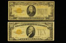 SERIES 1928 TWENTY DOLLAR GOLD CERTIFICATE AND SERIES 1928 TEN DOLLAR GOLD CERTIFICATE