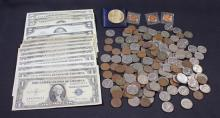 MIXED LOT INCLUDING SERIES 1953 FIVE DOLLAR SILVER CERTIFICATE, SERIES 1963 FIVE DOLLAR RED SEAL NOTE, 2 TWO DOLLAR RED SEAL NOTES,...