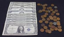 MIXED LOT INCLUDING 2 SERIES 1953 FIVE DOLLAR SILVER CERTIFICATES, 2 SERIES 1963 TWO DOLLAR RED SEAL NOTES, 5 ONE DOLLAR SILVER CERT...