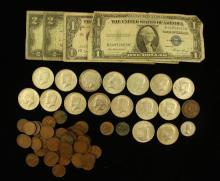 MIXED LOT INCLUDING 2 TWO DOLLAR RED SEAL NOTES, ONE DOLLAR SILVER CERTIFICATE, (16) 40% KENNEDY HALF DOLLARS, LINCOLN WHEAT CENTS,...