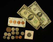 MIXED LOT INCLUDING SERIES 1934 TWENTY AND TEN DOLLAR FEDERAL RESERVE NOTES, BUFFALO, LIBERTY V, AND JEFFERSON NICKELS, TOKEN, AND 1...