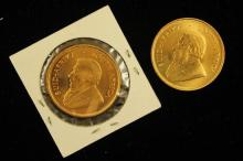 †2 SOUTH AFRICAN 1 OZ GOLD KRUGERRANDS 1975 AND 1982 *tax exempt*