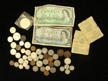 LOT FOREIGN COINS AND CURRENCY (SOME SILVER)