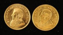 †2 SOUTH AFRICAN 1 OZ GOLD KRUGERRANDS 1974 AND 1975,  *tax exempt*