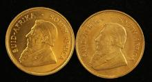 †2 SOUTH AFRICAN 1 OZ GOLD KRUGERRANDS 1974 AND 1975 *tax exempt*