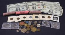 MIXED LOT INCLUDING TWO DOLLAR RED SEAL NOTE, ONE DOLLAR SILVER CERTIFICATES, 3 ROLLS LINCOLN WHEAT AND MEMORIAL CENTS, INDIAN HEAD...