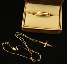 LOT STAMPED 14K YELLOW GOLD BAND AND CHAIN NECKLACE WITH CROSS PENDANT, 6.2 GRAMS TOTAL, RING SIZE 12 1/4