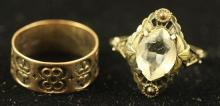 2 VINTAGE RINGS INCLUDING YELLOW GOLD BAND AND STERLING AND 10K RING WITH CLEAR STONE