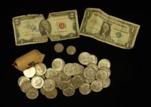 MIXED LOT INCLUDING TWO DOLLAR RED SEAL NOTE, ONE DOLLAR SILVER CERTIFICATE, (35) 40% KENNEDY HALF DOLLARS, 1 ROLL 1965 KENNEDY HALF...
