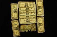 CURRENCY LOT INCLUDING 2 SERIES 1963 FIVE DOLLAR RED SEAL NOTES, 3 TWO DOLLAR RED SEAL NOTES, 6 ONE DOLLAR SILVER CERTIFICATES, AND...