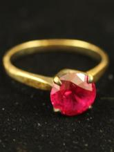 STAMPED 10K YELLOW GOLD RUBY TYPE RING, SIZE 7 1/4, 2.2 GRAMS