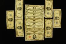 U.S. CURRENCY LOT INCLUDING 3 SERIES 1934 TEN DOLLAR SILVER CERTIFICATES, 12 SERIES 1934 FIVE DOLLAR SILVER CERTIFICATES, AND SERIES...