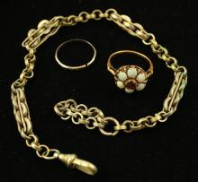 LOT INCLUDING SILVERTONE WATCH CHAIN, 18K WHTE GOLD BAND AND STAMPED 10K YELLOW GOLD OPAL CLUSTER RING, RINGS 5.5 GRAMS TOTAL