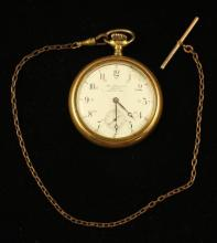 GEORGE STEVENSON JEWELER, MANITOU, MANITOBA GOLD FILLED OPEN FACE POCKET WATCH, 17 JEWELS, MOVEMENT #326920, 53 MM DIAMETER WITH GOL...