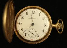 ILLINOIS WATCH CO GOLD FILLED HUNTER CASE POCKET WATCH, 15 JEWELS, MOVEMENT #2044918, 55 MM DIAMETER