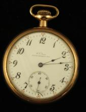 W. F. NORRIS SOUTH WHITLEY, INDIANA GOLD FILLED OPEN FACE POCKET WATCH, LEVER SET, MOVEMENT #1662138 48 MM DIAMETER