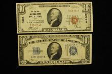 TEN DOLLAR NATIONAL CURRENCY NOTE, PAULDING NATIONAL BANK OHIO 5862 AND SERIES 1934 TEN DOLLAR SILVER CERTIFICATE