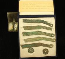 5 CHOU DYNASTY 480-255 B.C. KNIFE MONEY/COINS AND 2 MING DYNASTY CIRCA 1426-1436 CHINESE COINS IN CASE