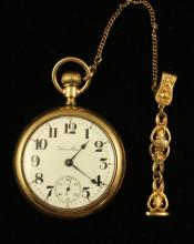 HAMILTON GOLD FILLED OPEN FACE POCKET WATCH, 17 JEWELS, LEVER SET, MOVEMENT #1416003, 55 MM DIAMETER, WITH GOLD FILLED WATCH FOB
