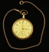 ELGIN NATIONAL GOLD FILLED OPEN FACE POCKET WATCH, MOVEMENT #14742609, 49 MM DIAMETER WITH GOLD FILLED WATCH CHAIN