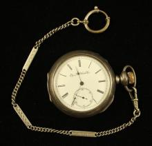 ELGIN NATIONAL COIN OPEN FACE POCKET WATCH, MOVEMENT #2407259, LEVER SET, 52 MM DIAMETER WITH SILVER TONE WATCH CHAIN