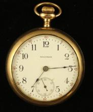 AMERICAN WALTHAM GOLD FILLED OPEN FACE POCKET WATCH, 15 JEWELS, MOVEMENT #14525016, 55 MM DIAMETER