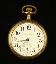 TRANS PACIFIC LANGENDORF WATCH CO GOLD FILLED OPEN FACE POCKET WATCH, 21 JEWELS, 49 MM DIAMETER