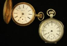 2 POCKET WATCHES INCLUDING TRENTON SILVERTONE OPEN FACE, LEVER SET, 55 MM DIAMETER AND SUPERIOR GOLDTONE HUNTER CASE KEY WIND 54 MM...