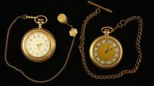 2 POCKET WATCHES INCLUDING WALTHM OPEN FACE AND CROWN OPEN FACE BOTH GOLD FILLED 46 MM DIAMETER AND BOTH WITH GOLD FILLED WATCH CHAINS