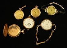 LOT 5 VINTAGE WATCHES AND 1 GOLD FILLED POCKET WATCH CASE INCLUDING ELGIN AND HAMILTON