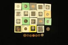 MIXED LOT INCLUDING 1868 SHIELD, LIBERTY V, AND JEFFERSON NICKELS, U.S. LARGE AND INDIAN HEAD CENTS, AND U.S. TWO CENT PIECE