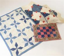 3 PIECED DOLL QUILTS, BLUE AND WHITE PINWHEEL, RED AND BLUE SQUARE AND RED, WHITE AND BLUE LOG CABIN, 9