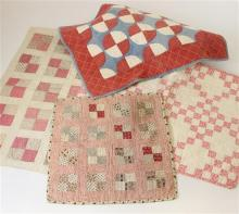 4 PIECED DOLL QUILTS, RED AND WHITE 4 SQUARE BLOCK PATTERNS AND RED, WHITE, BLUE QUARTERED CIRCLE BLOCK, 13.5
