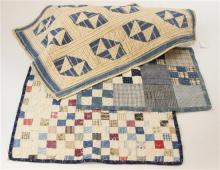 3 PIECED DOLL QUILTS BLUE AND WHITE 4 AND 9 SQUARE BLOCK VARIATIONS, 11.5