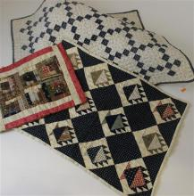 3 PIECED DOLL QUILTS LOG CABIN, BLUE AND WHITE DIAMOND PATTERN AND BASKET PATTERN, 12