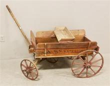 U.S. EXPRESS RED WAGON WITH LARGE WOODEN SPOKE WHEELS AND SEAT, 46