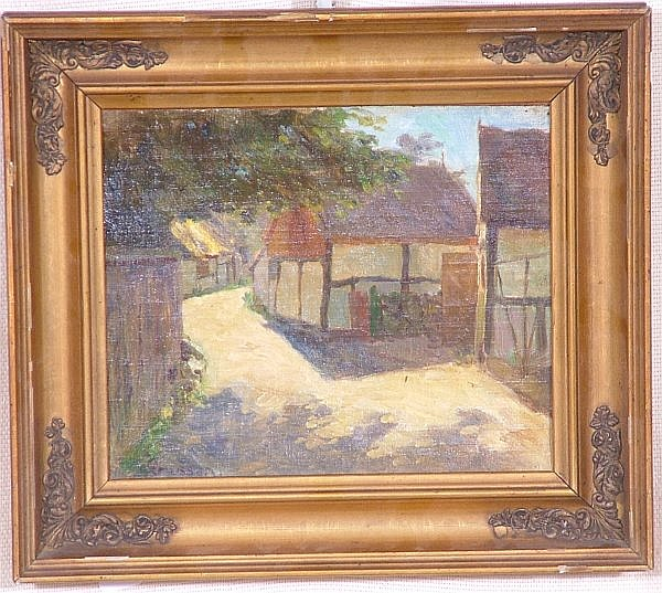CHRISTIAN ASMUSSEN (1873-1940 DANISH) OIL ON BOARD, VILLAGE SCENE, SIGNED, 11