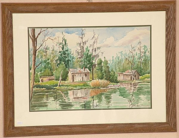 R. HAL BURRISS (1892-? SARASOTA, FL) WATERCOLOR, SPANISH MOSS LOUISIANA BAYOU, SIGNED, 21