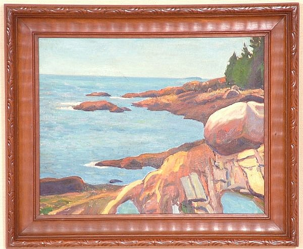 ROBERT O CHADEAYNE (1897-1981 COLUMBUS,) OIL ON CANVAS COASTAL SCENE, UNSIGNED, 18