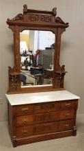 WALNUT VICTORIAN 5-DRAWER MARBLE TOP DRESSER WITH MIRROR AND CANDLESHELVES, 46