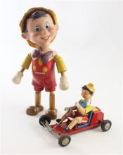 2 PINOCCHIO TOYS INCLUDING IDEAL WOOD AND COMPOSITION DOLL AND LINEMAR FRICTION TIN CAR