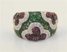 STAMPED 18K WHITE GOLD FLORAL DESIGN FASHION RING WITH APPROX .36 CT TW DIAMONDS AND .37 CT TW RUBY TYPE AND .97 CT TW EMERALD TYPE...